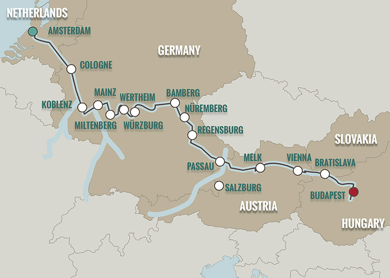 River Map Of Germany.Amsterdam To Budapest River Cruise Map Teeming River Cruises