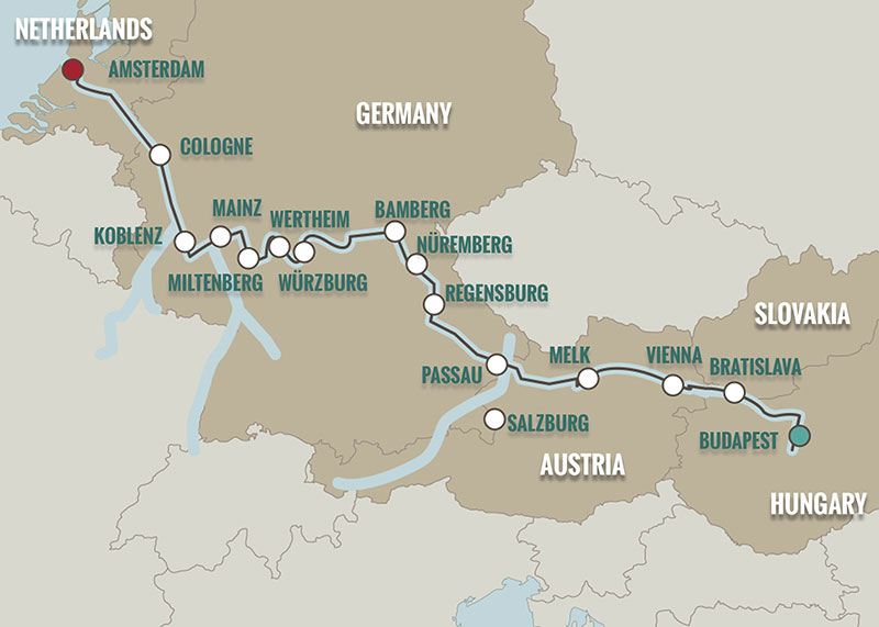 Map Of Germany And Amsterdam.Budapest Amsterdam Cruise Map Teeming River Cruises